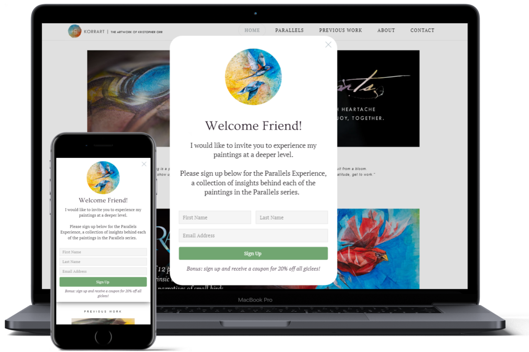 website showcase korrart