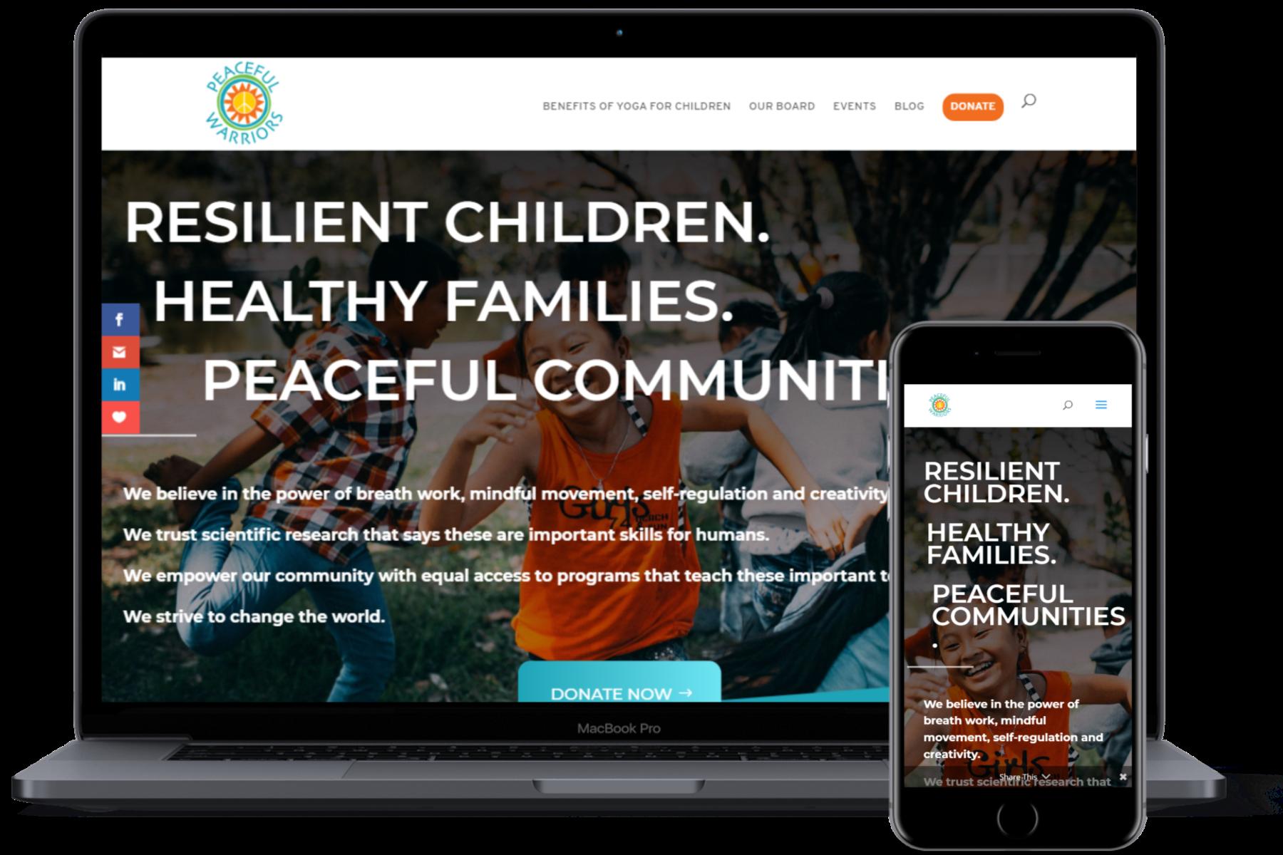 website showcase peacefulwarriors